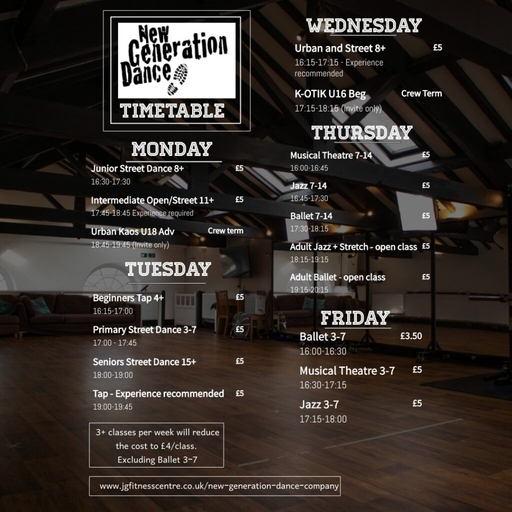 New Generation Class Timetable Autumn 2021